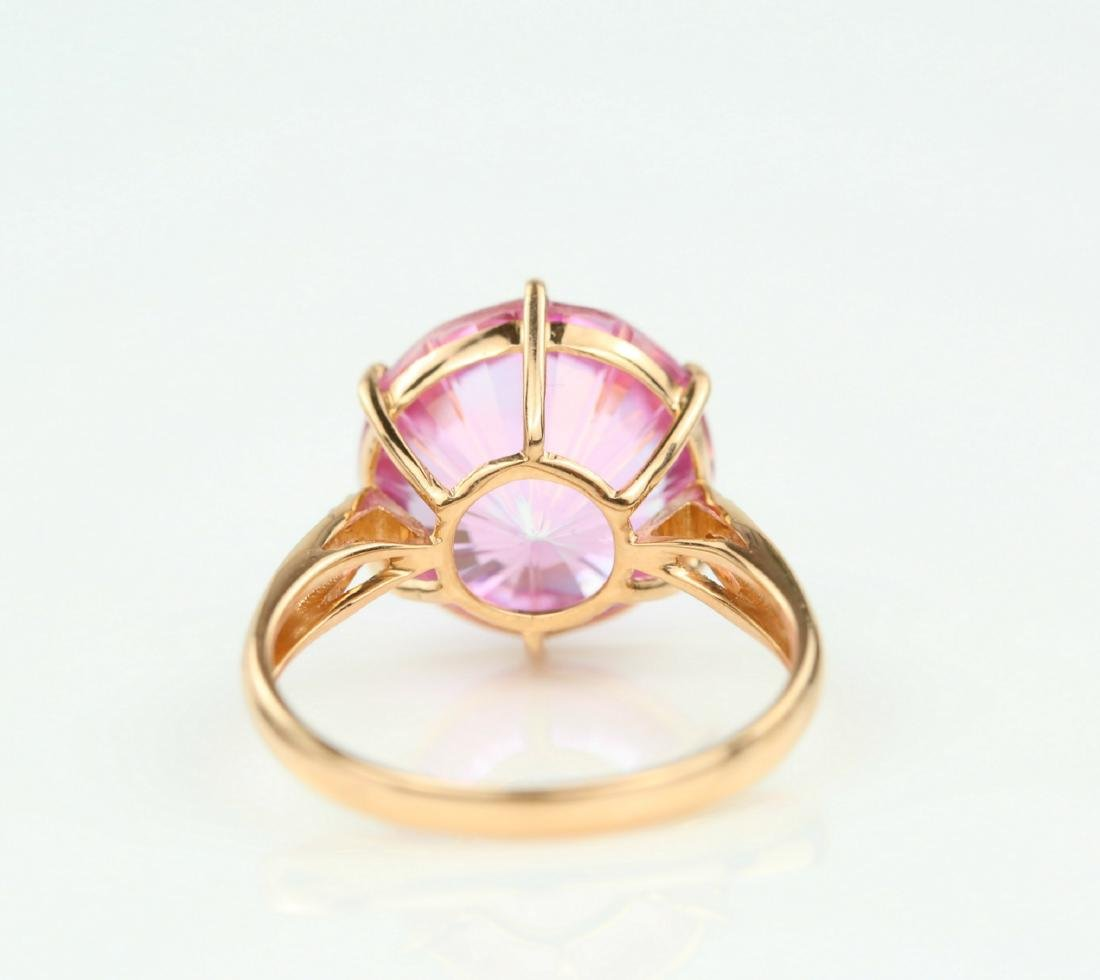Certified-Pink Topaz ring with 18K rose ring - 5