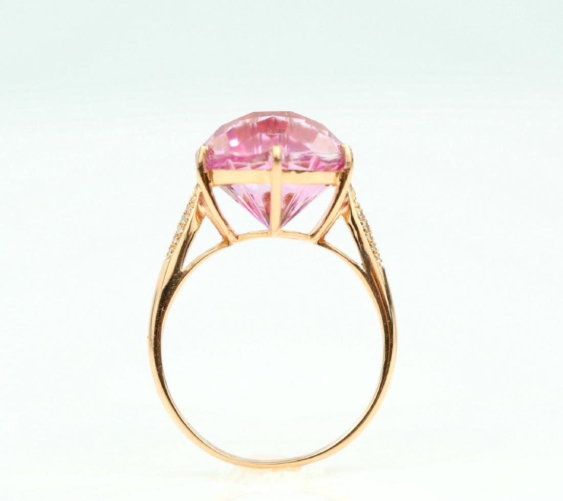 Certified-Pink Topaz ring with 18K rose ring - 6