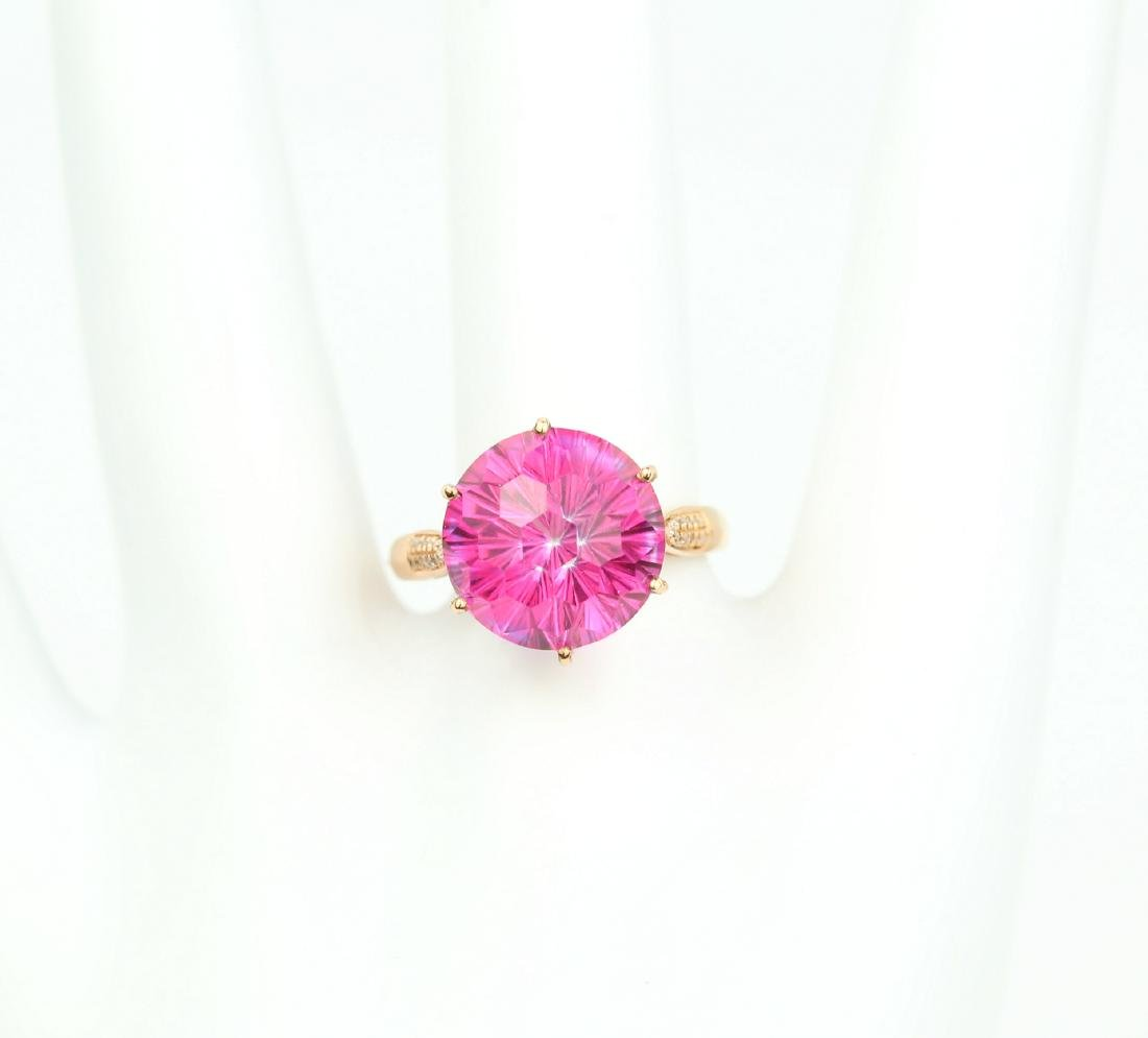 Certified-Pink Topaz ring with 18K rose ring - 7