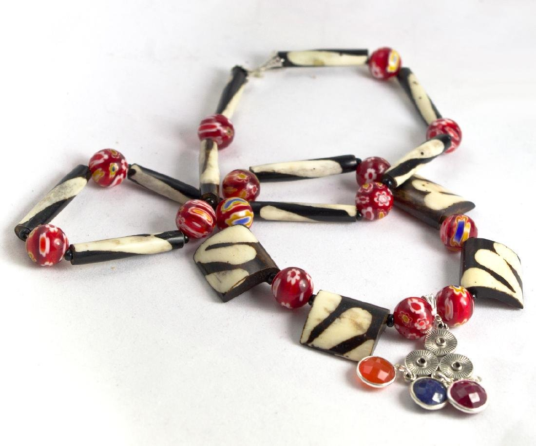 Ethnic Style Necklace - Murano, Sapphire, Ruby, - 3