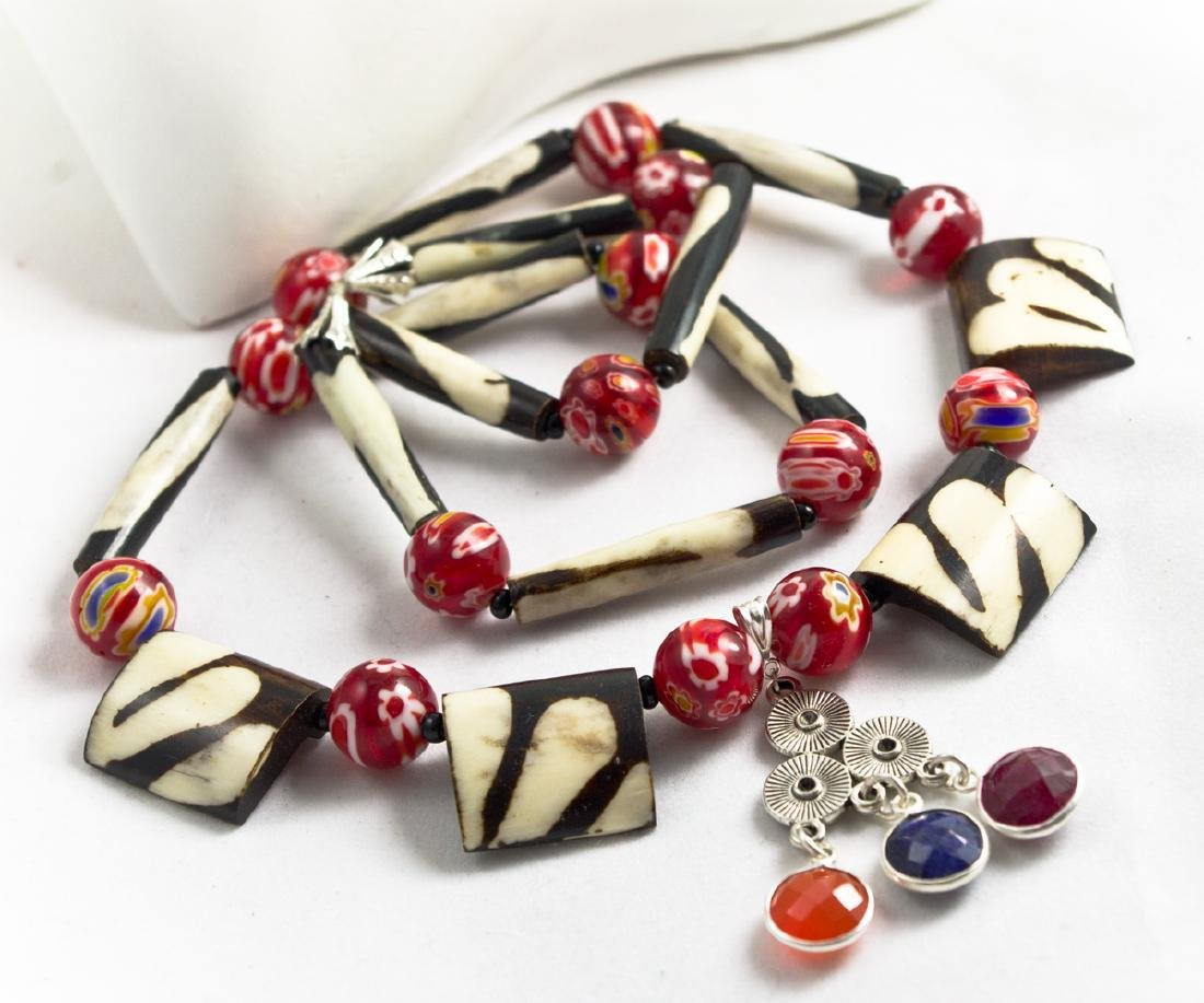 Ethnic Style Necklace - Murano, Sapphire, Ruby, - 4