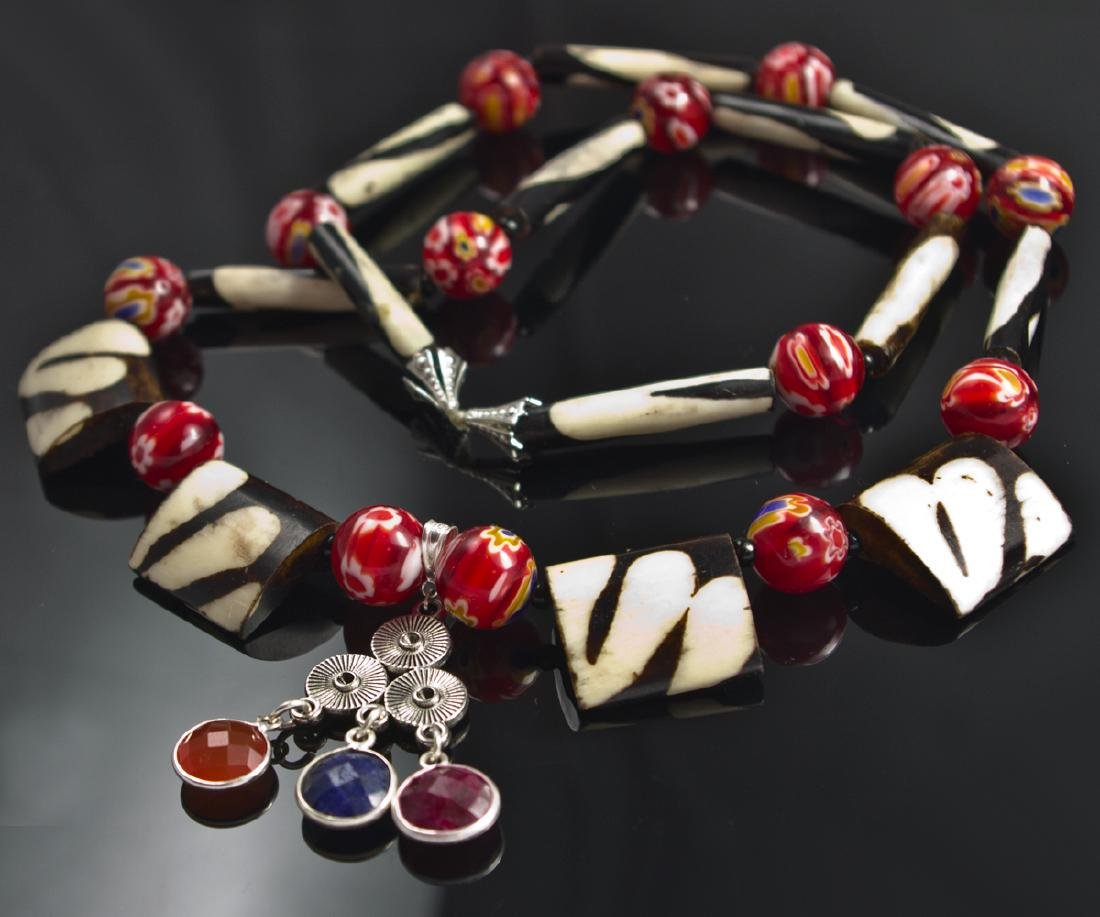 Ethnic Style Necklace - Murano, Sapphire, Ruby, - 5