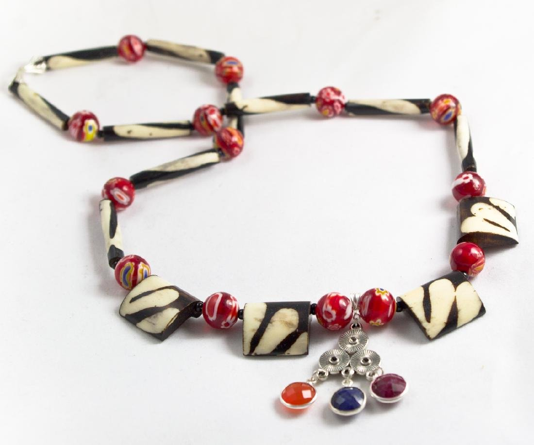 Ethnic Style Necklace - Murano, Sapphire, Ruby, - 6