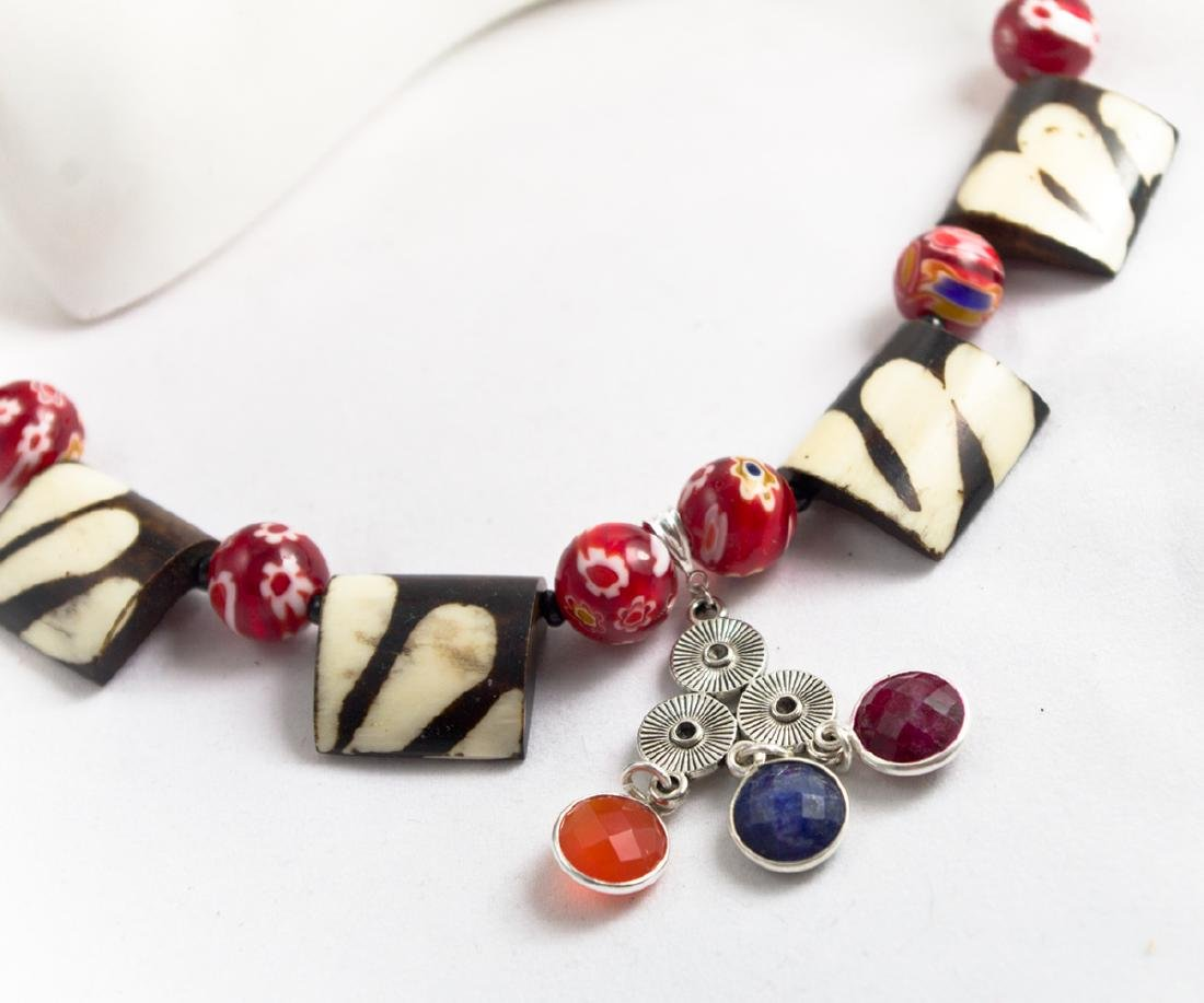 Ethnic Style Necklace - Murano, Sapphire, Ruby, - 7