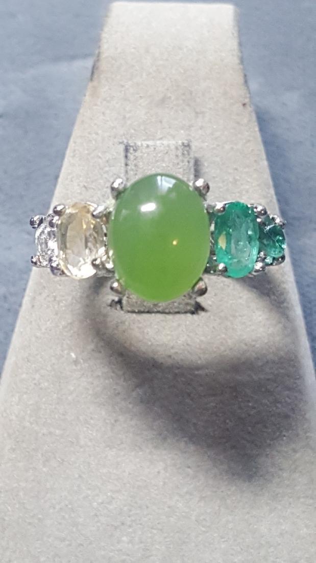 925 Jade Gem Ombre Ring