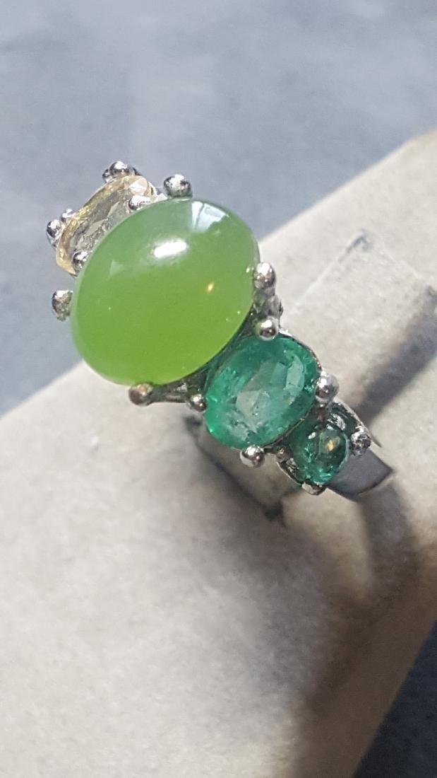 925 Jade Gem Ombre Ring - 2