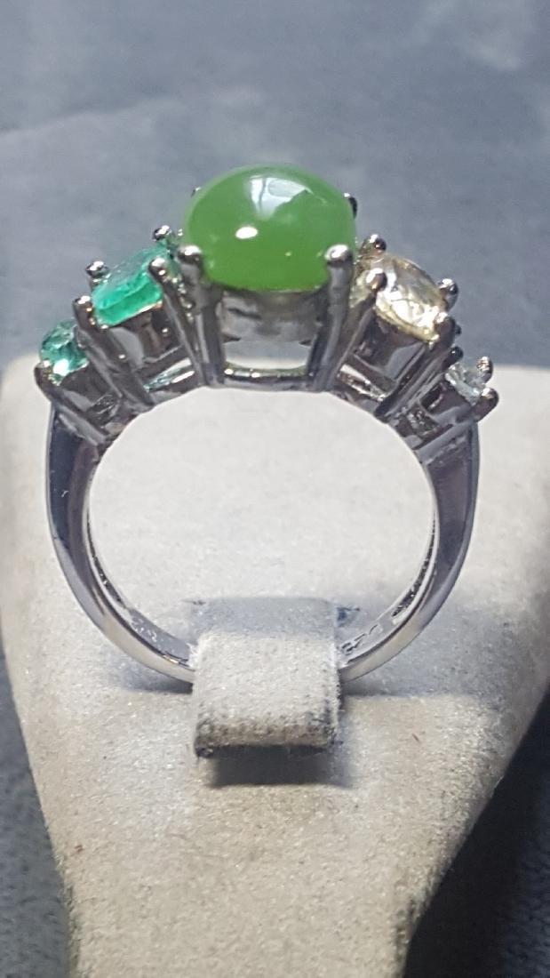 925 Jade Gem Ombre Ring - 3