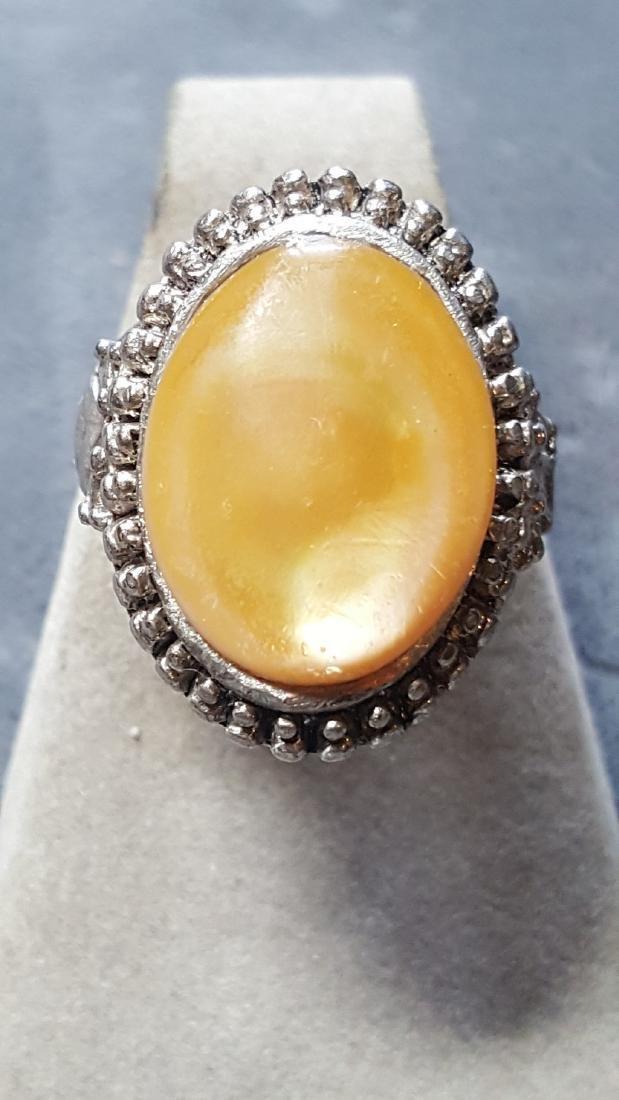 Peach Moonstone Silver Ring