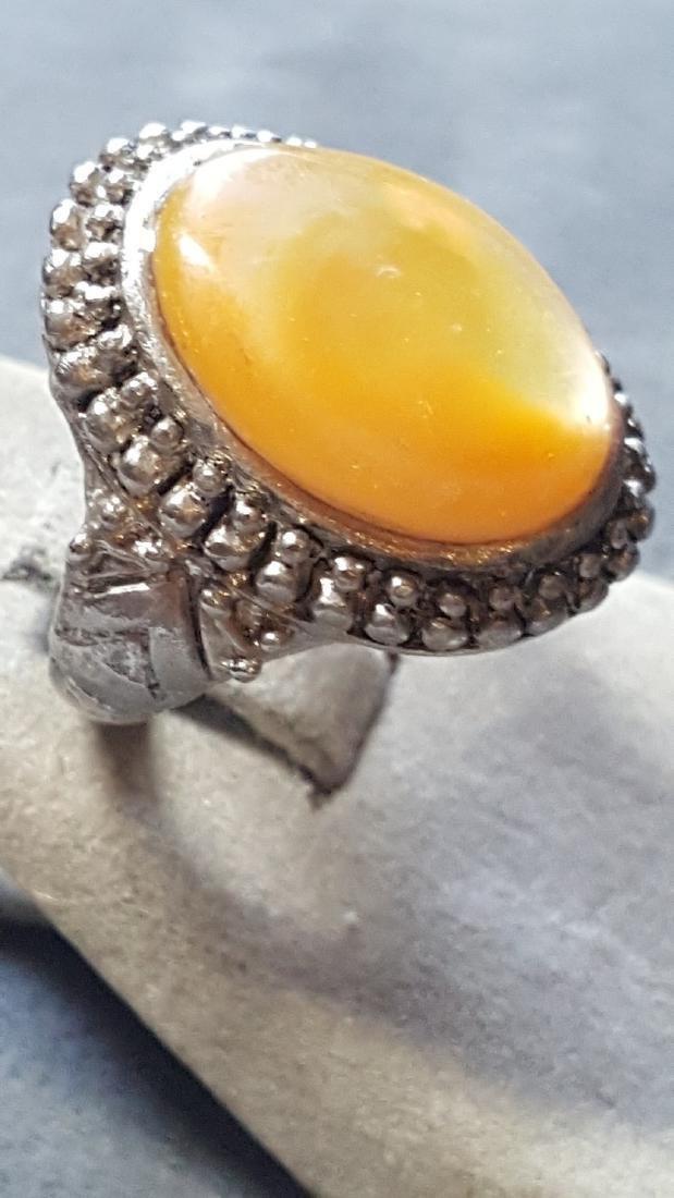 Peach Moonstone Silver Ring - 2