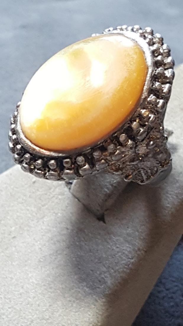 Peach Moonstone Silver Ring - 3