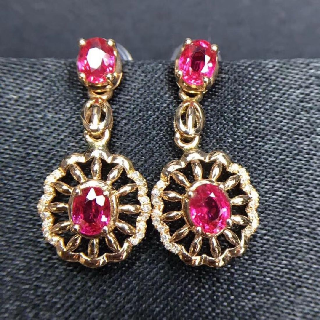 2.28 CTW Ruby & VS Diamond Earring 18K