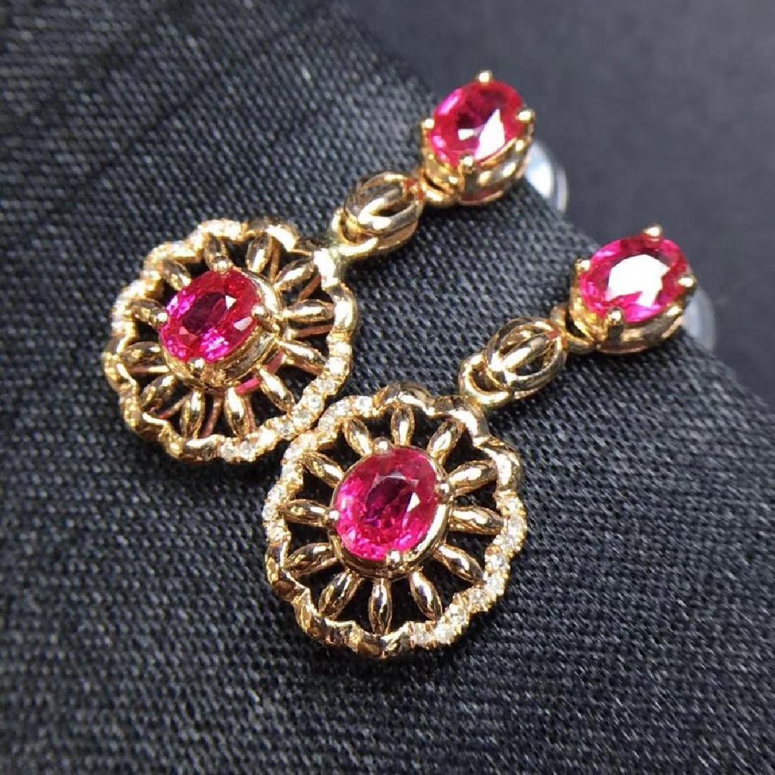2.28 CTW Ruby & VS Diamond Earring 18K - 4