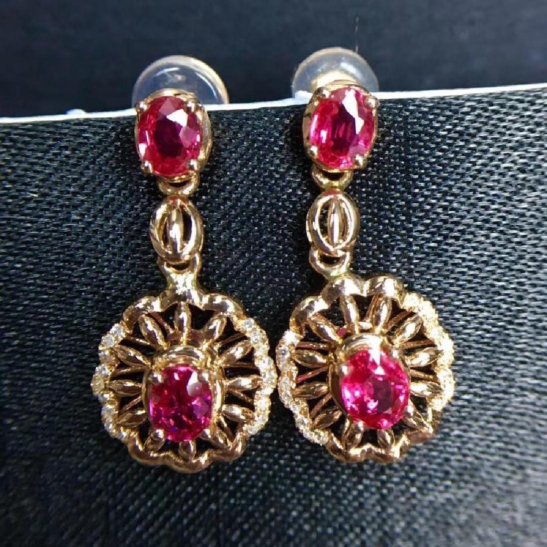 2.28 CTW Ruby & VS Diamond Earring 18K - 5
