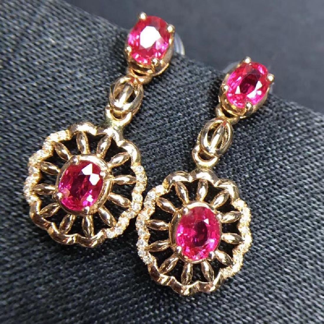2.28 CTW Ruby & VS Diamond Earring 18K - 7