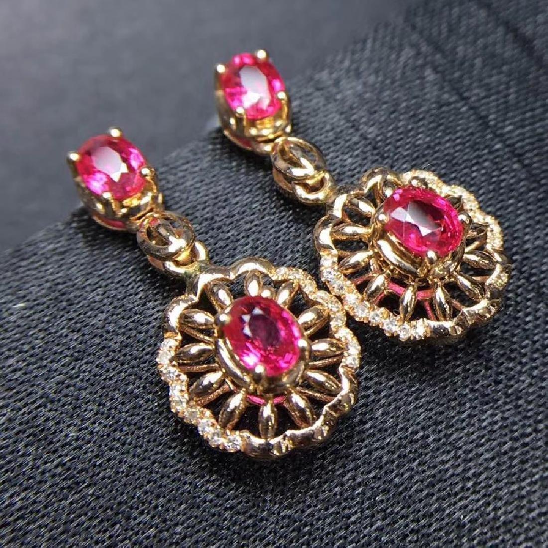 2.28 CTW Ruby & VS Diamond Earring 18K - 8