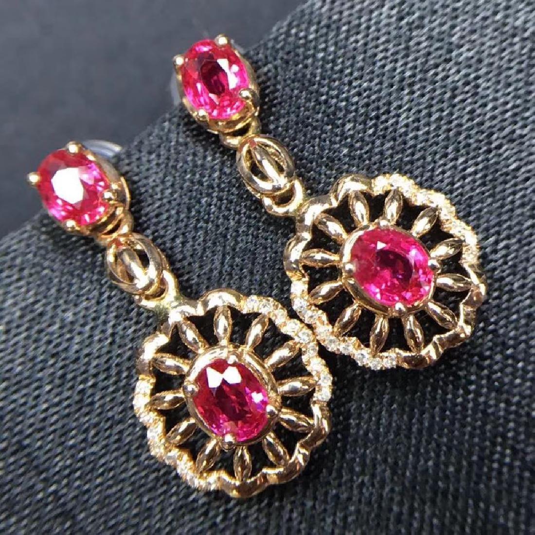 2.28 CTW Ruby & VS Diamond Earring 18K - 9