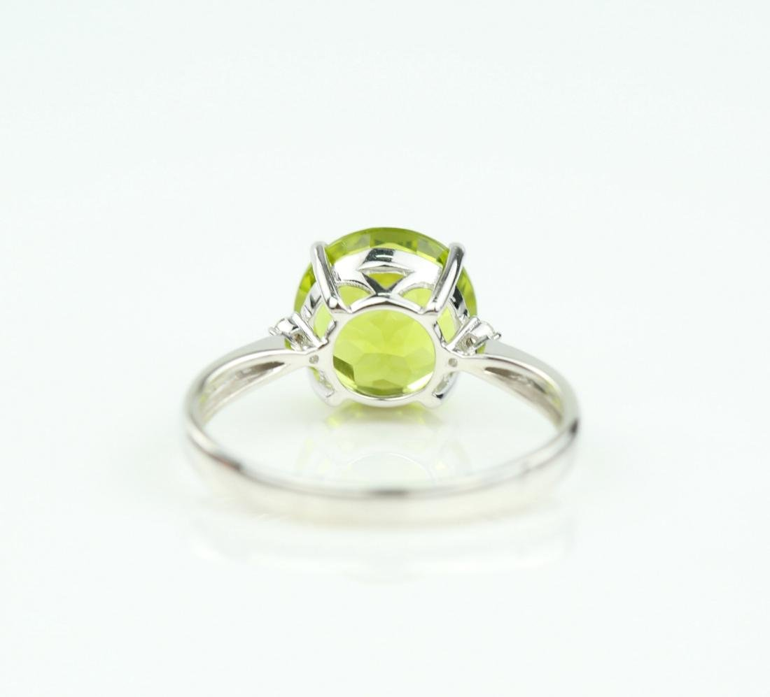 Certified-18K white gold ring with Peridot2.88ct. - 5