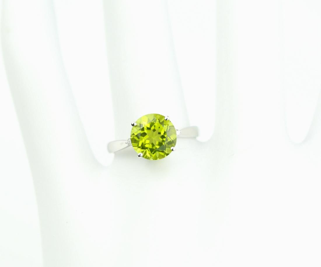 Certified-18K white gold ring with Peridot2.88ct. - 6