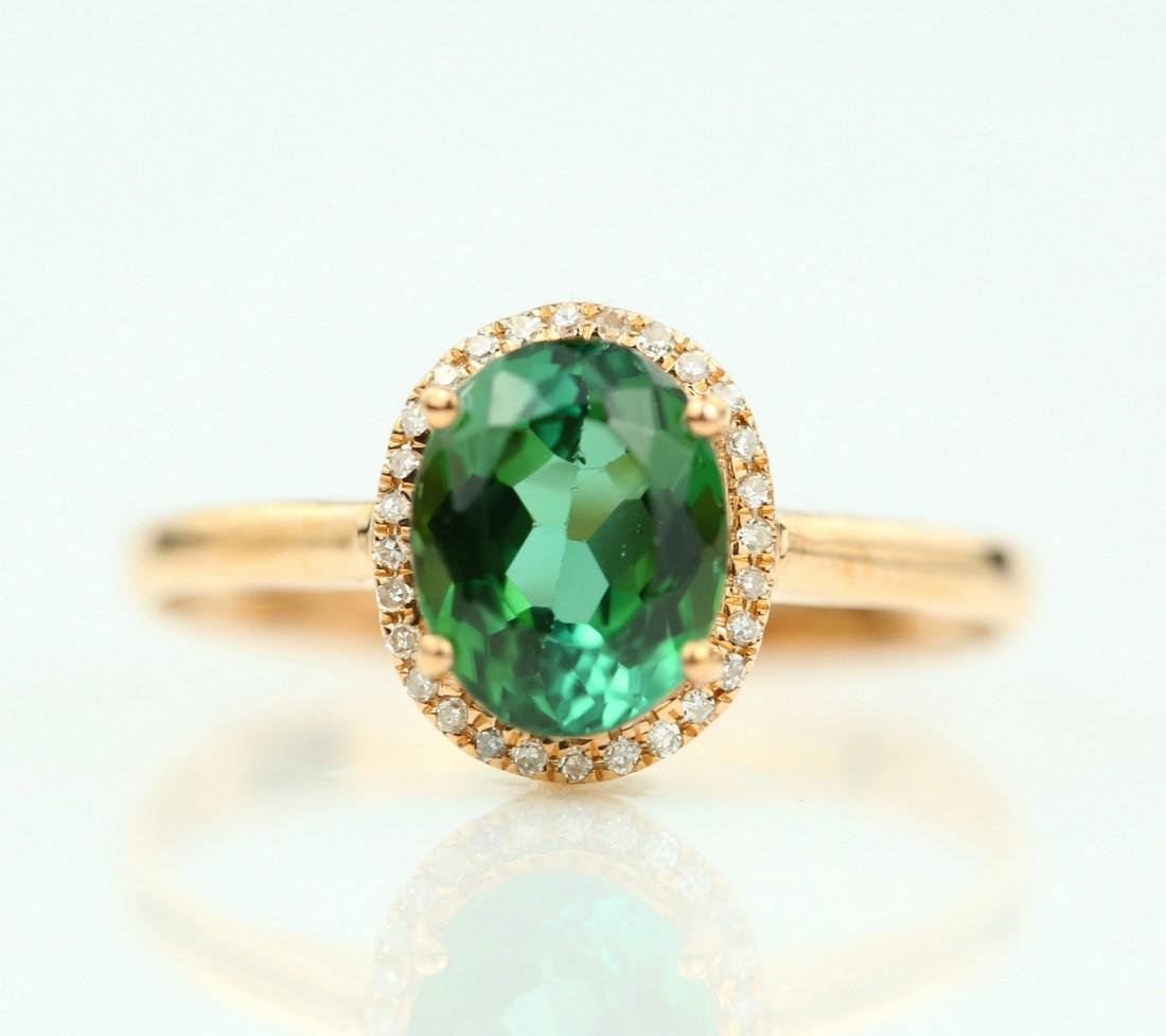 Certified-exquisite Tourmaline 18k rose gold ring