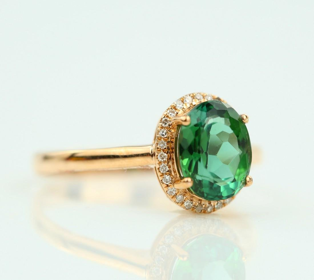Certified-exquisite Tourmaline 18k rose gold ring - 2