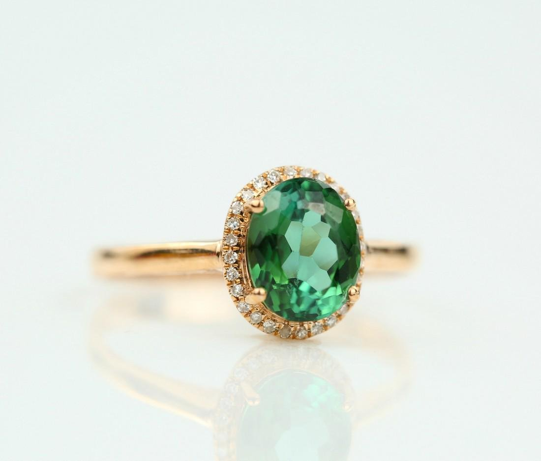 Certified-exquisite Tourmaline 18k rose gold ring - 4