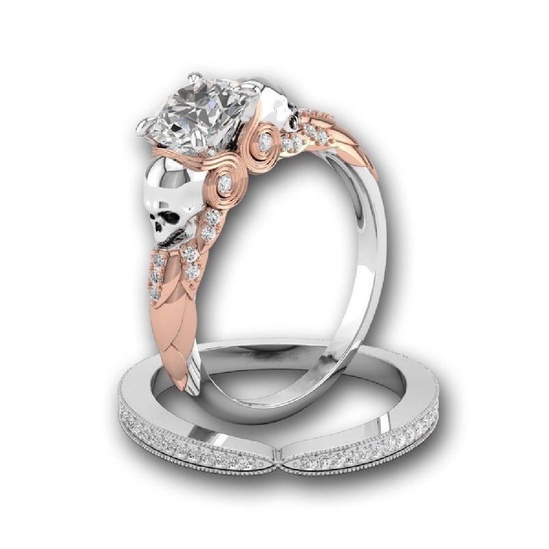 2Pcs/Set 925 Silver Ring 1.6Ct White Topaz Size 10