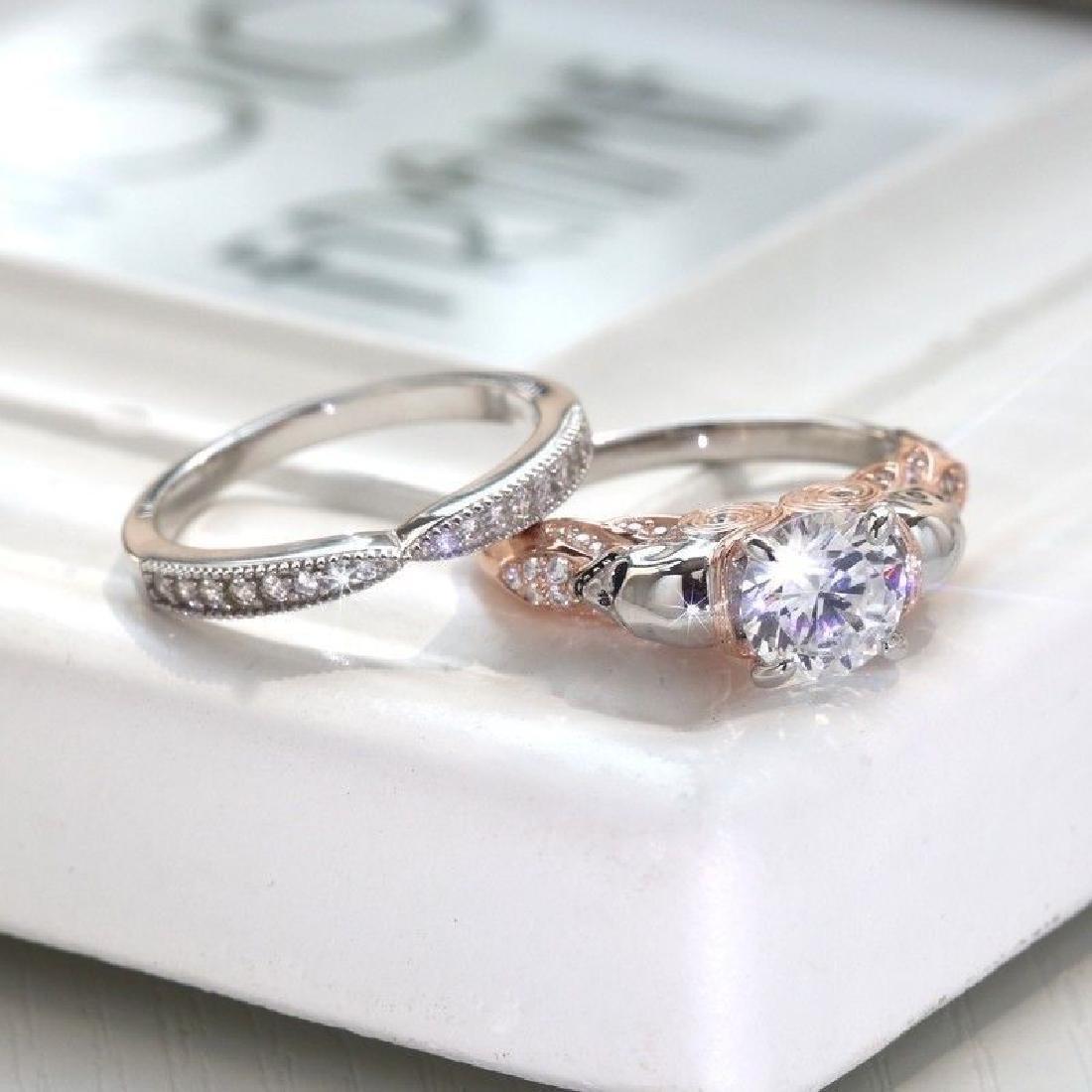 2Pcs/Set 925 Silver Ring 1.6Ct White Topaz Size 10 - 3