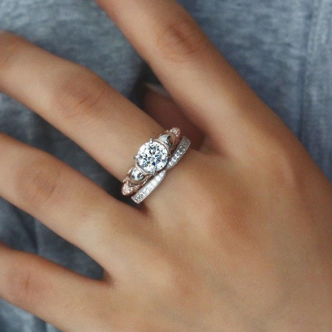 2Pcs/Set 925 Silver Ring 1.6Ct White Topaz Size 10 - 4