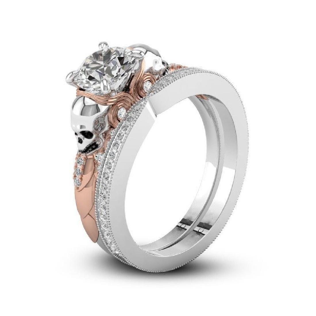 2Pcs/Set 925 Silver Ring 1.6Ct White Topaz Size 10 - 5