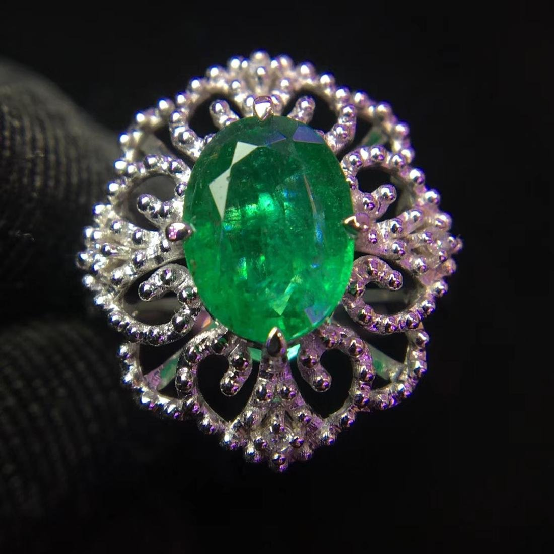 1.48ct Emerald Ring in 18kt White Gold