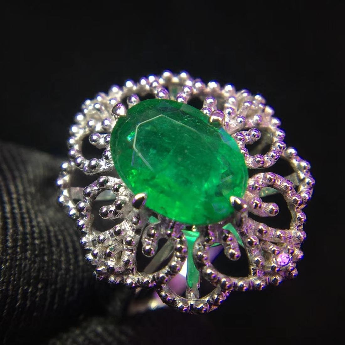 1.48ct Emerald Ring in 18kt White Gold - 2