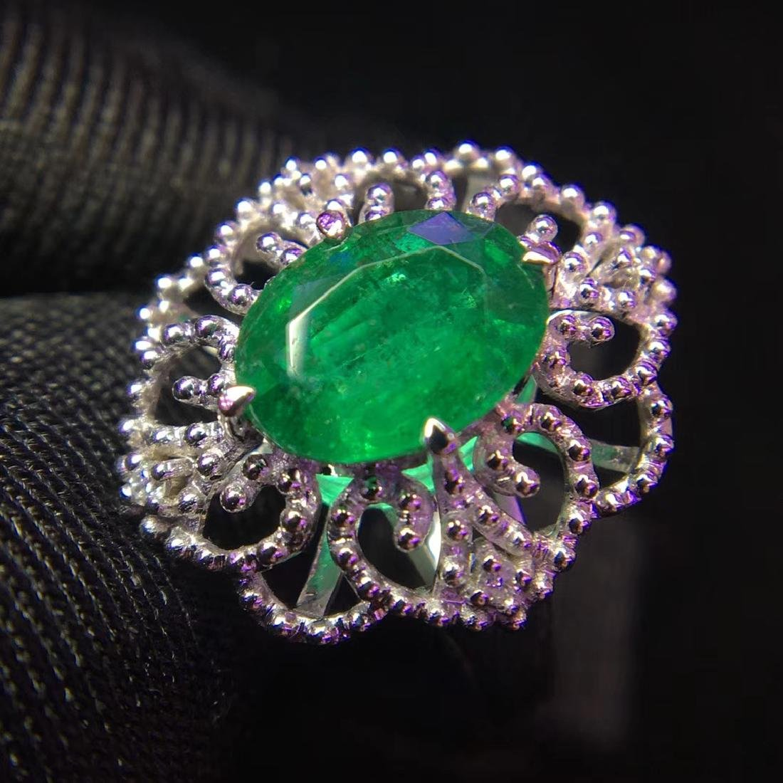 1.48ct Emerald Ring in 18kt White Gold - 3