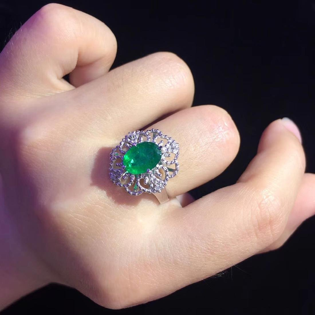 1.48ct Emerald Ring in 18kt White Gold - 6