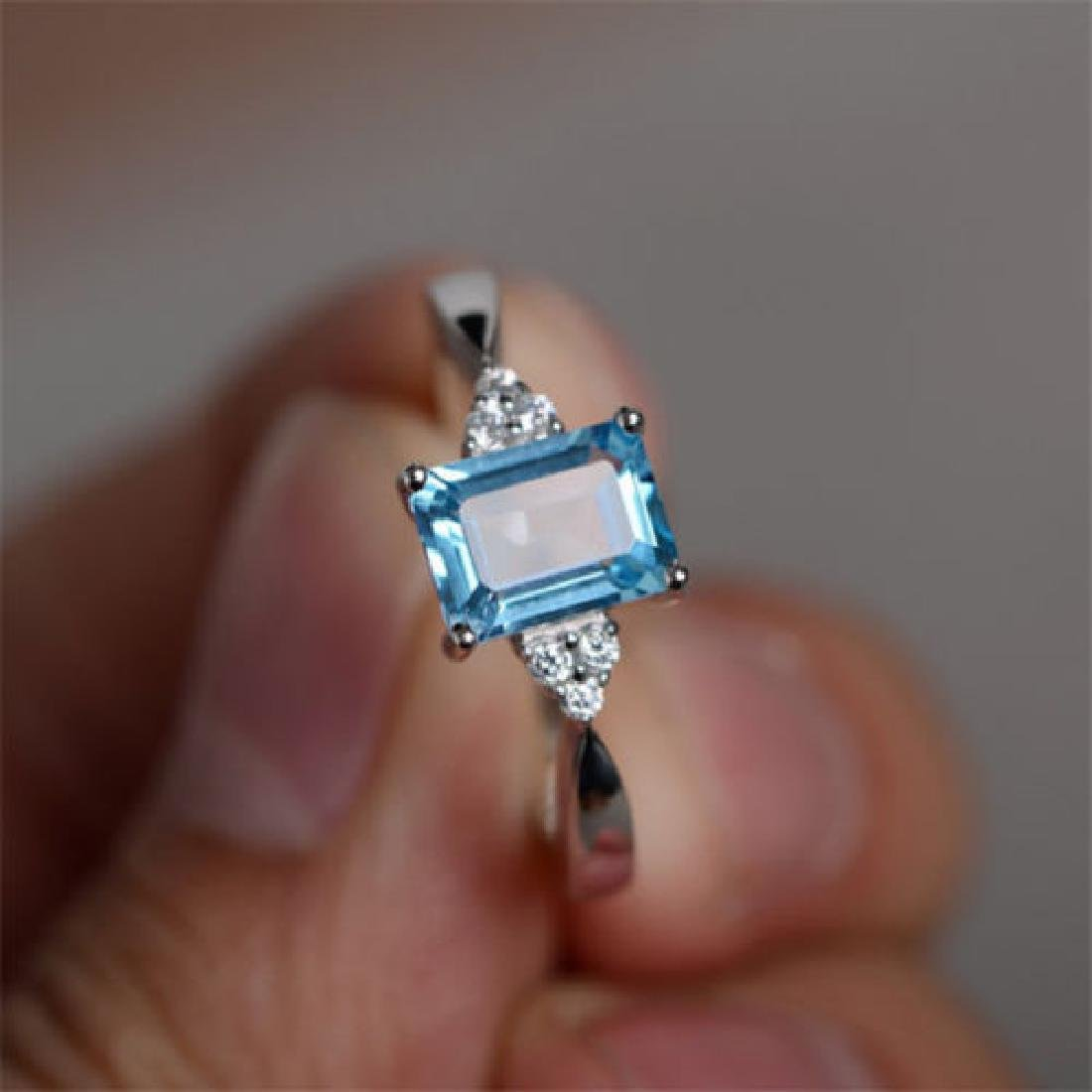925 silver ring Aquamarine Size 7