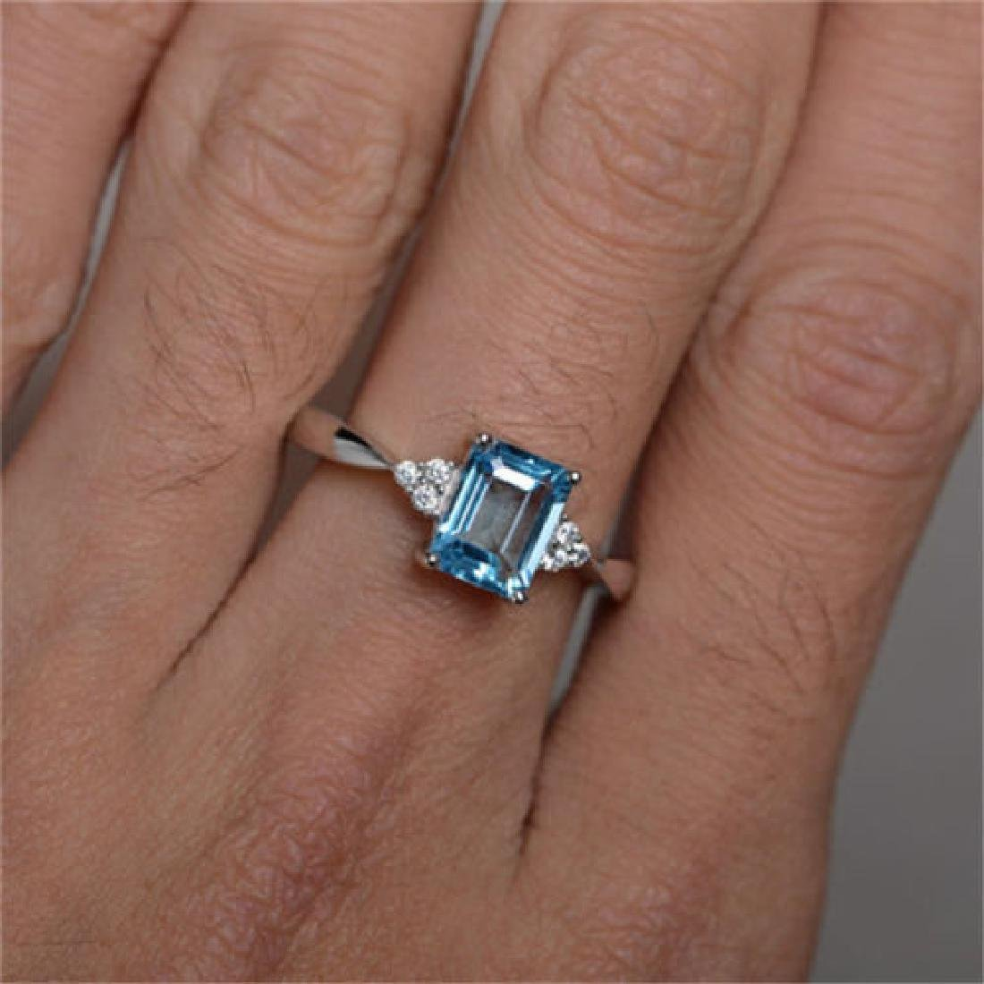 925 silver ring Aquamarine Size 7 - 2
