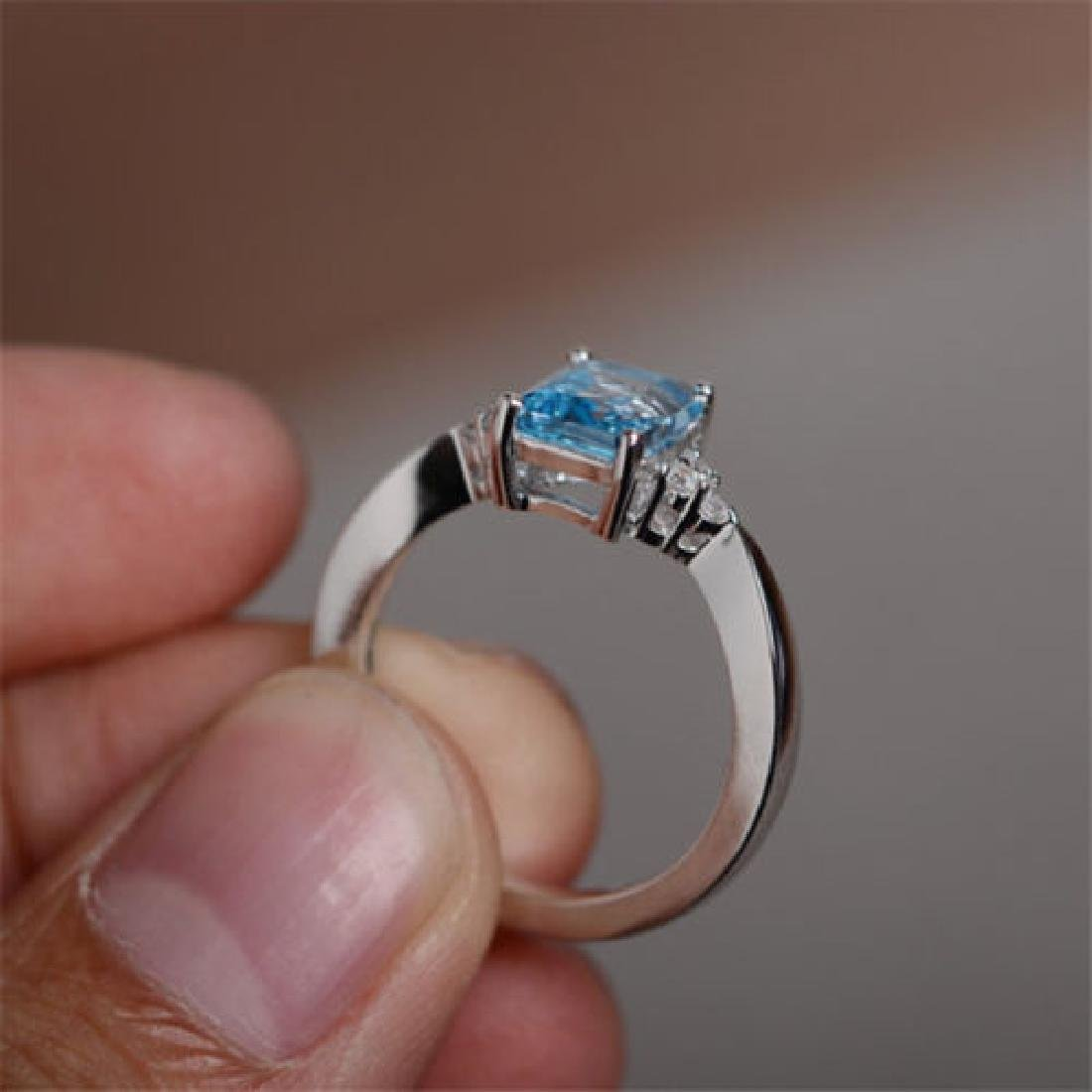 925 silver ring Aquamarine Size 7 - 3
