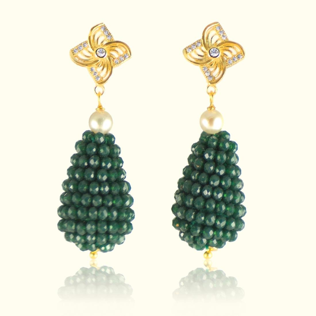 Green Onyx and Pearl Vintage Style Earrings - 2