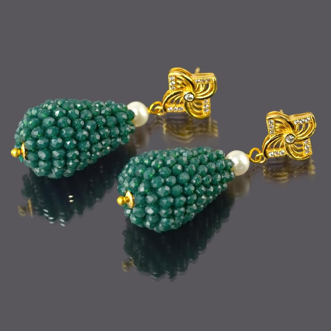 Green Onyx and Pearl Vintage Style Earrings - 3