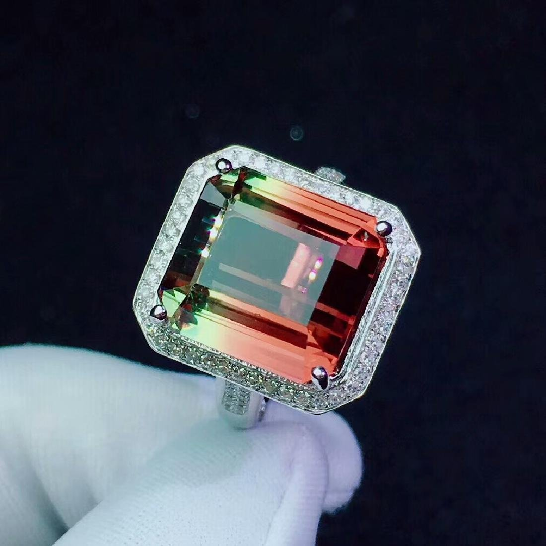 14.5ct Tourmaline Ring in 18kt white Gold - 3