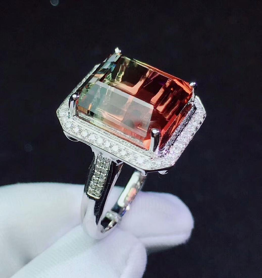 14.5ct Tourmaline Ring in 18kt white Gold - 4