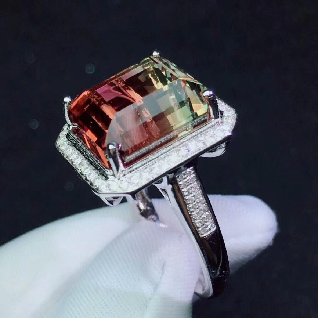 14.5ct Tourmaline Ring in 18kt white Gold - 6