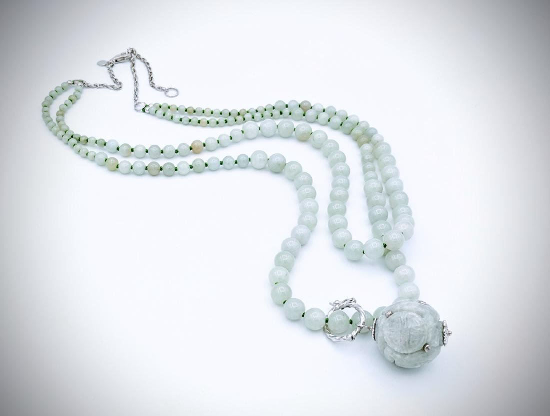 Jade Beaded Necklace with Sterling Silver 3 Adjustable