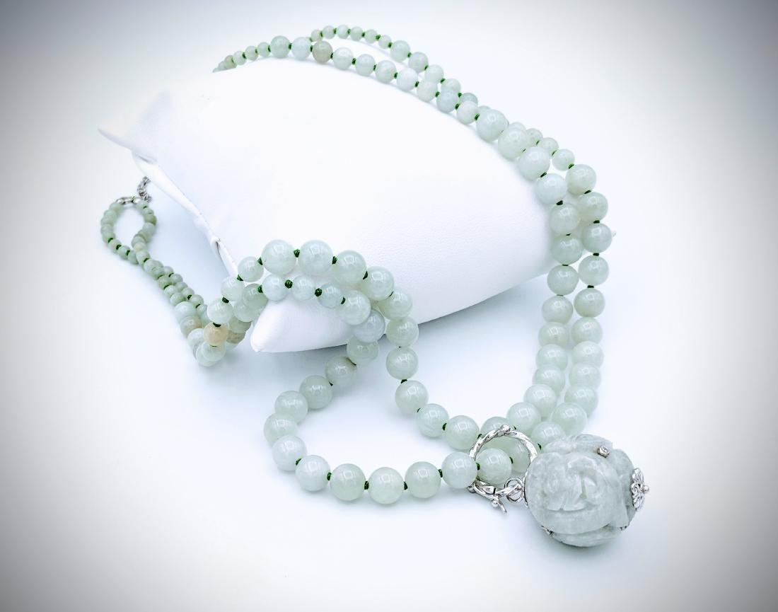 Jade Beaded Necklace with Sterling Silver 3 Adjustable - 2