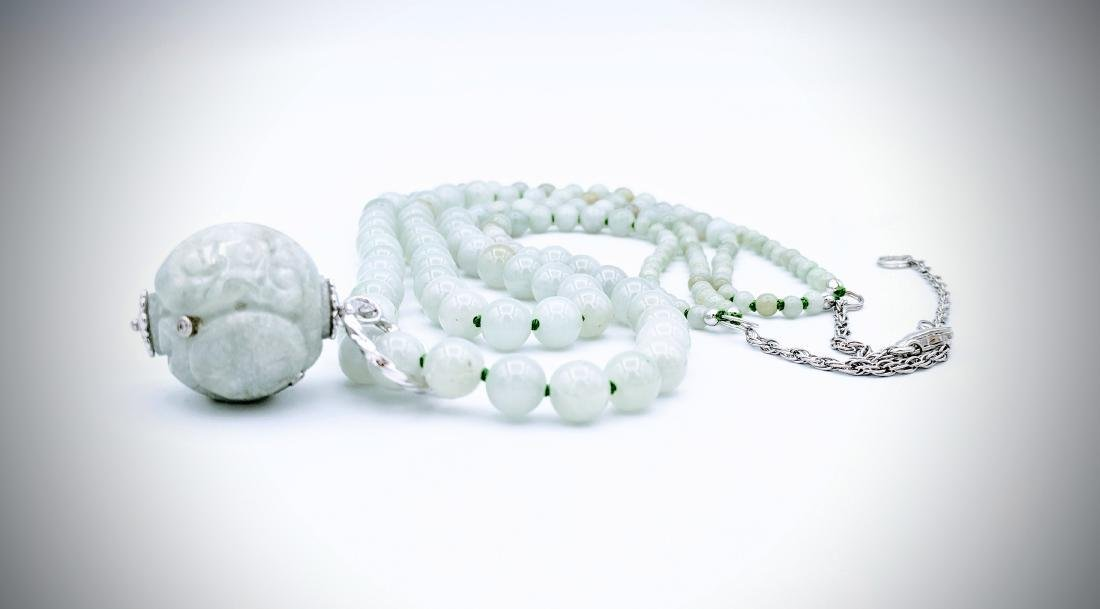 Jade Beaded Necklace with Sterling Silver 3 Adjustable - 3