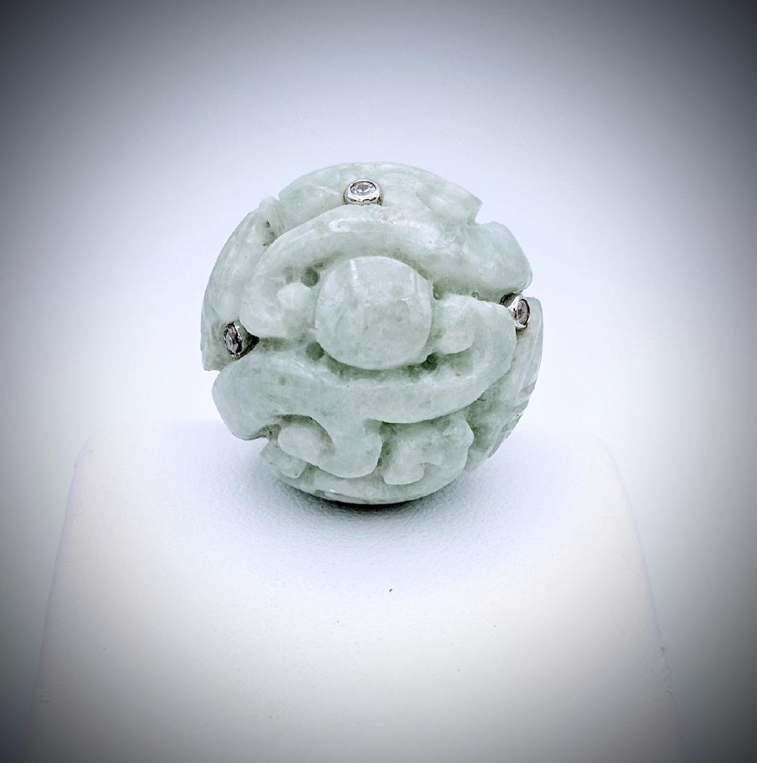 Sterling Silver Imperial Designed Carved Jade and Cubic