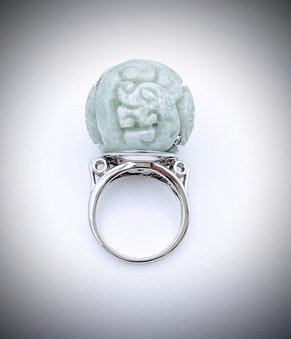 Sterling Silver Imperial Designed Carved Jade and Cubic - 2