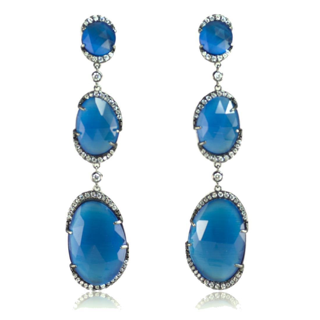Long 'Blue Symphony' Earrings