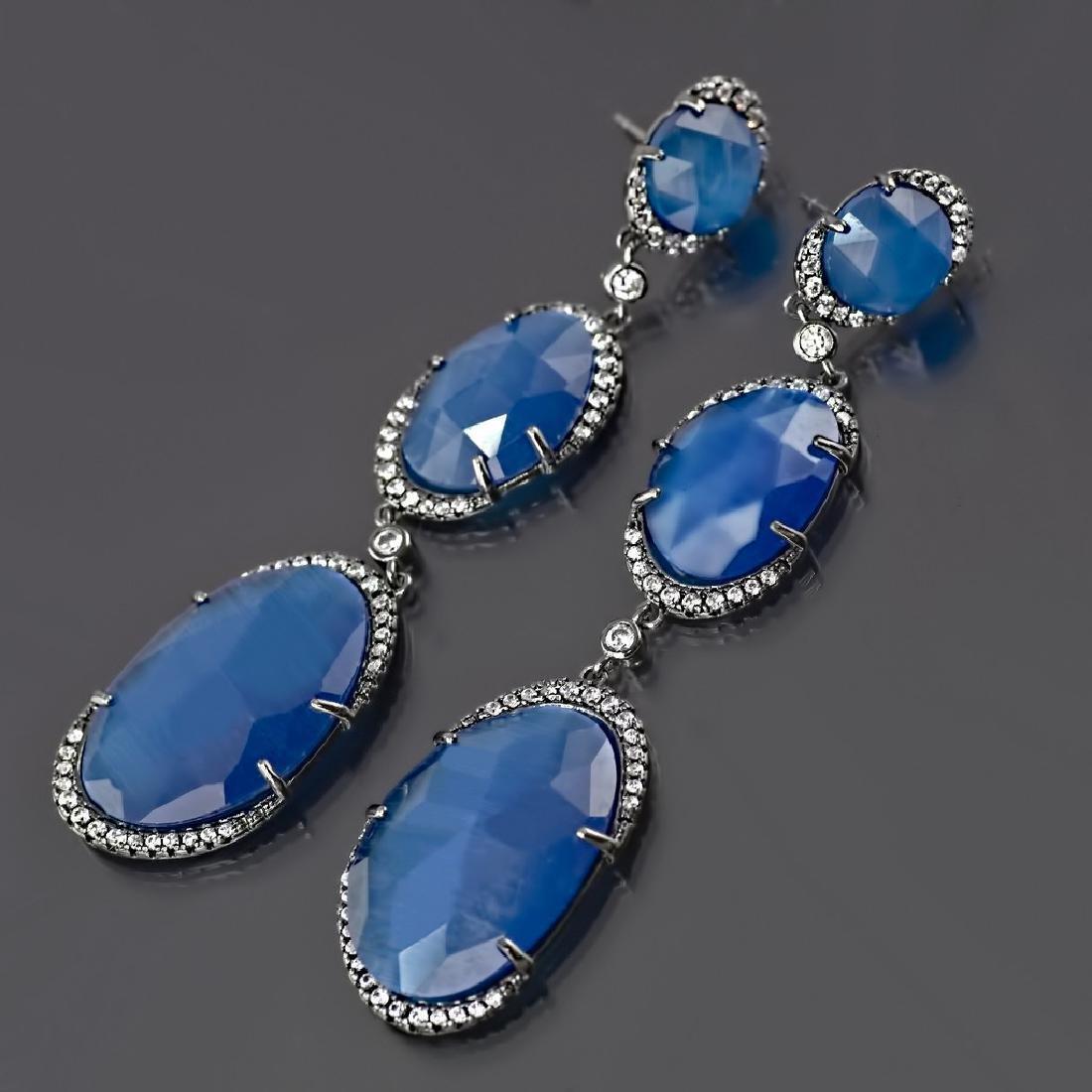 Long 'Blue Symphony' Earrings - 3