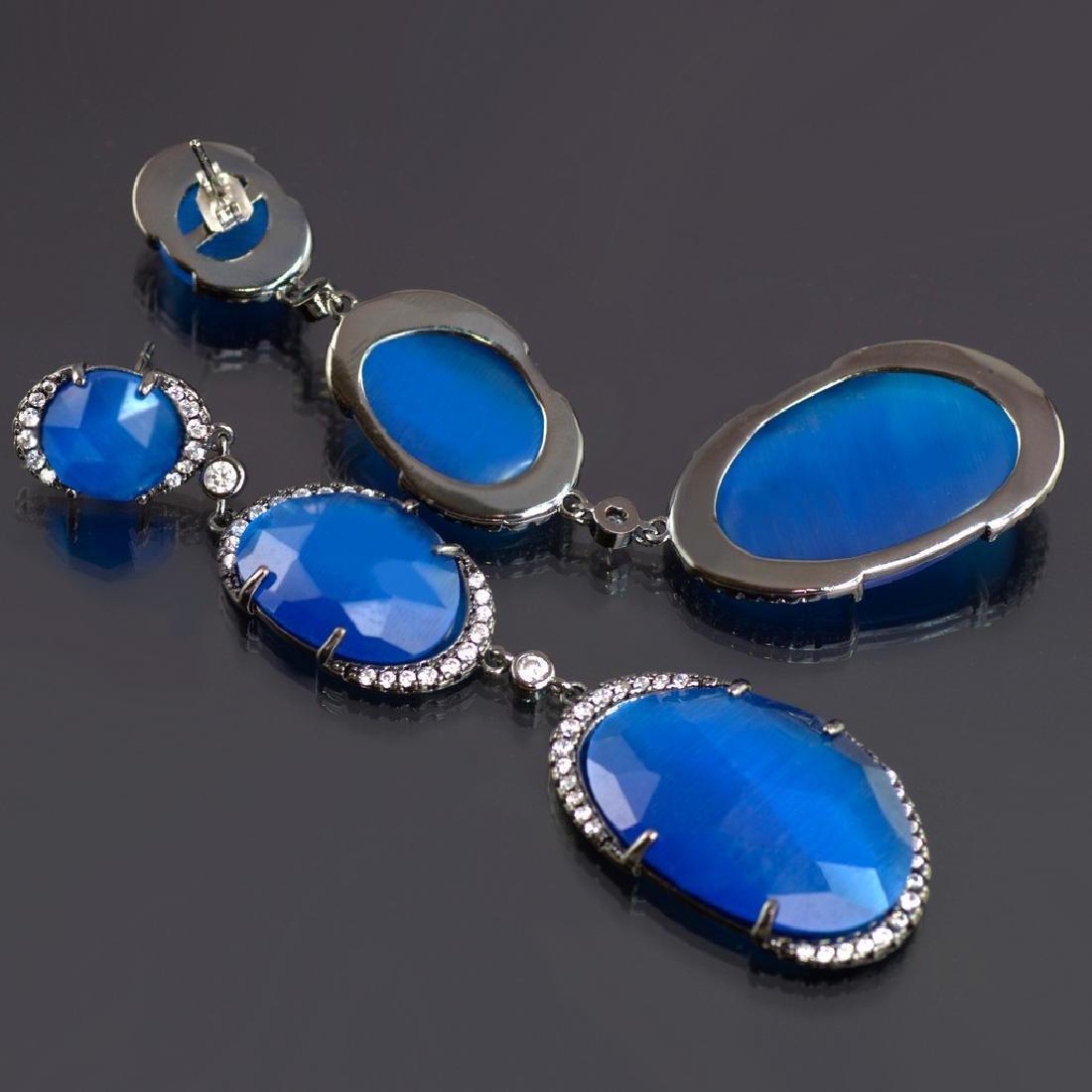 Long 'Blue Symphony' Earrings - 4