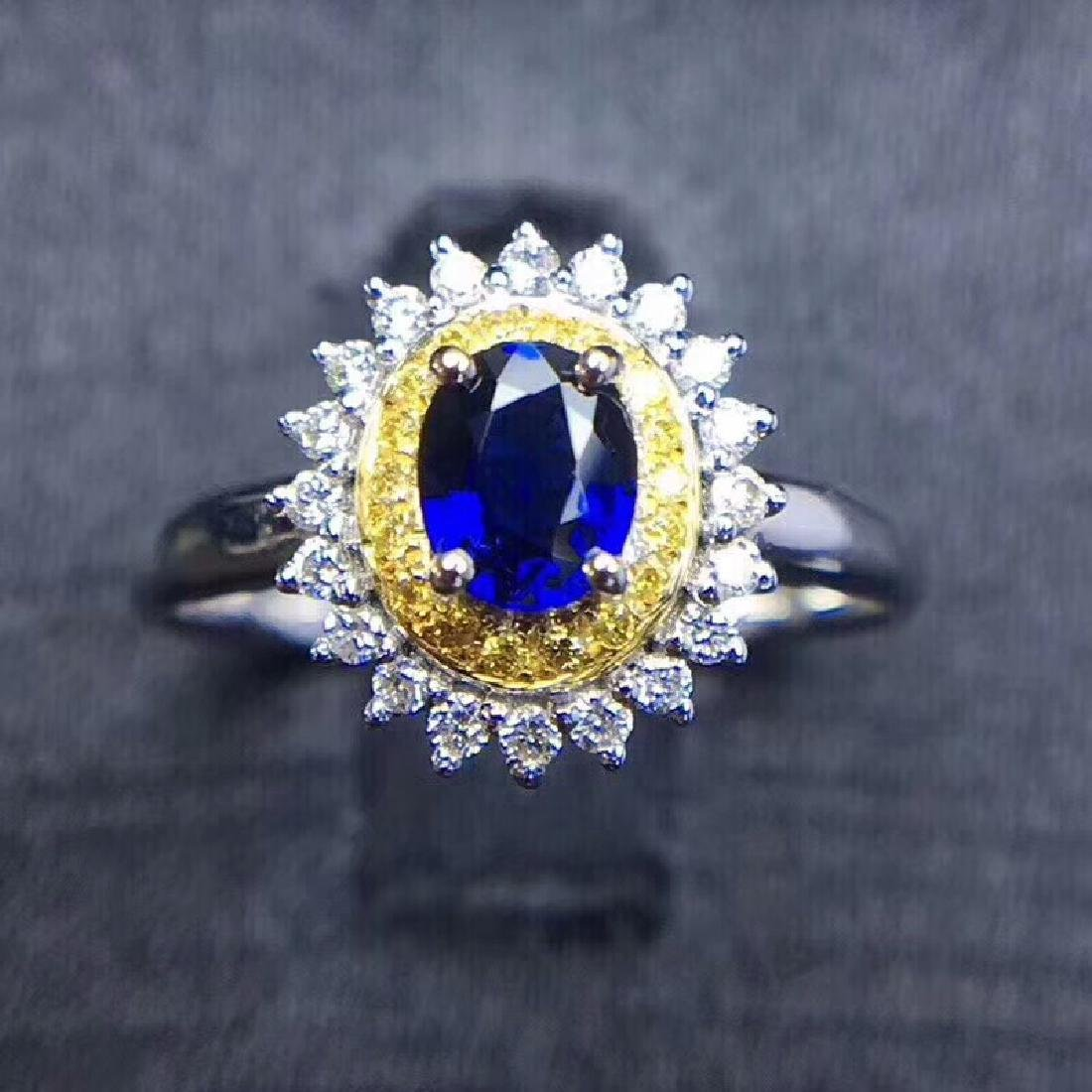 0.75 CTW Sapphire & VS Diamond Ring 18K